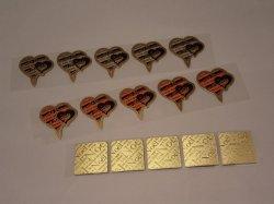 画像1: ケーキタグ(ハート2種類+角ゴールド)15枚セット